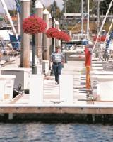 Person walking on a dock