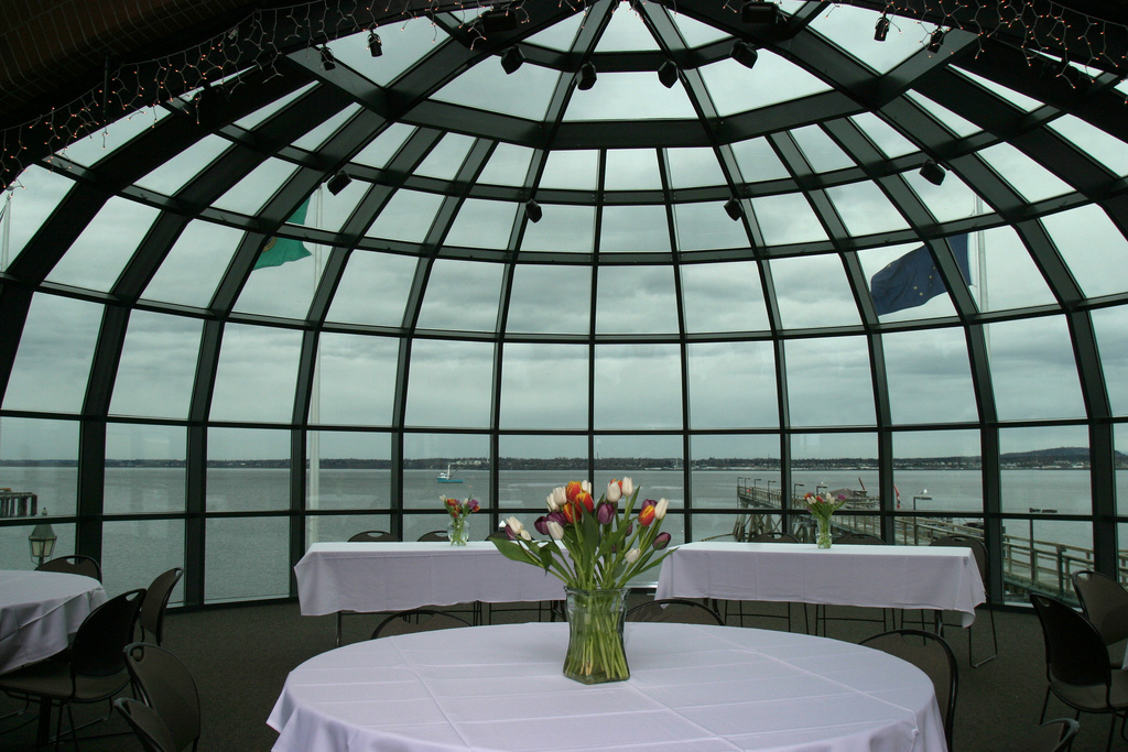 Flowers on a table in the Bellingham Cruise Terminal dome room