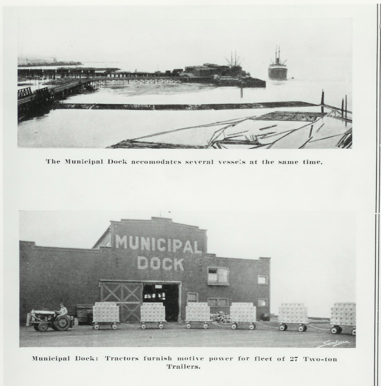 Pictures of a steam ship at the Bellingham Shipping Terminal and a tractor hauling cargo.